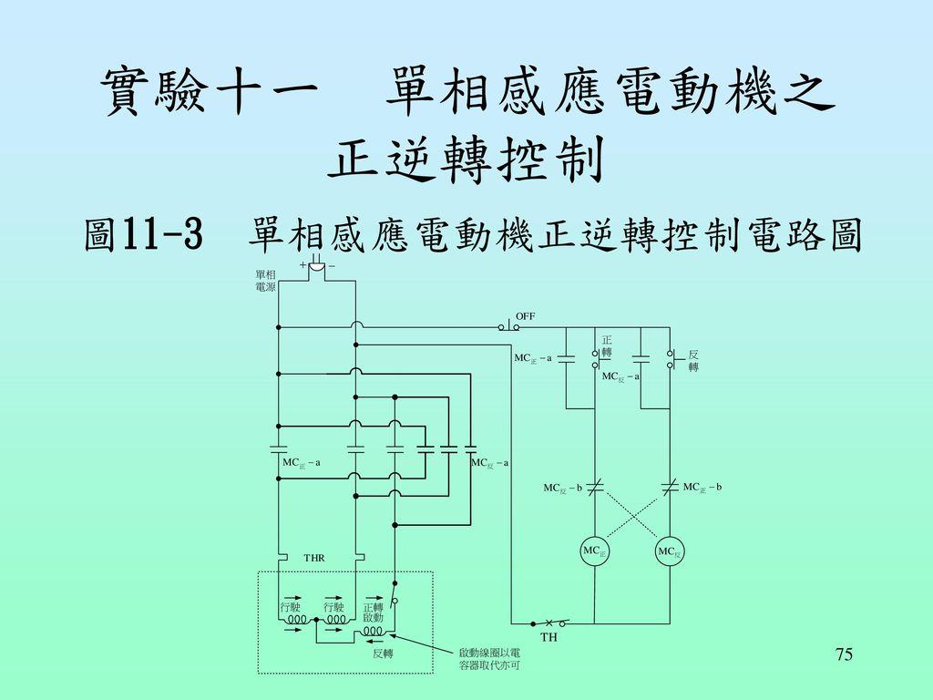實驗十一 單相感應電動機之正逆轉控制 圖11-3 單相感應電動機正逆轉控制電路圖