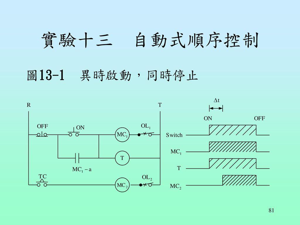實驗十三 自動式順序控制 圖13-1 異時啟動,同時停止