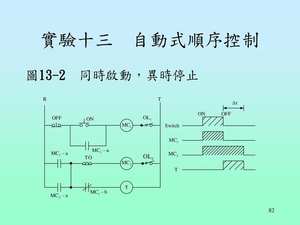 實驗十三 自動式順序控制 圖13-2 同時啟動,異時停止