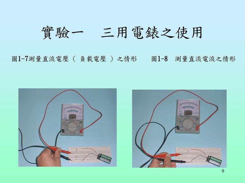實驗一 三用電錶之使用 圖1-7測量直流電壓 ( 負載電壓 ) 之情形 圖1-8 測量直流電流之情形