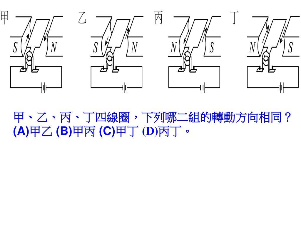 甲、乙、丙、丁四線圈,下列哪二組的轉動方向相同? (A)甲乙 (B)甲丙 (C)甲丁 (D)丙丁。