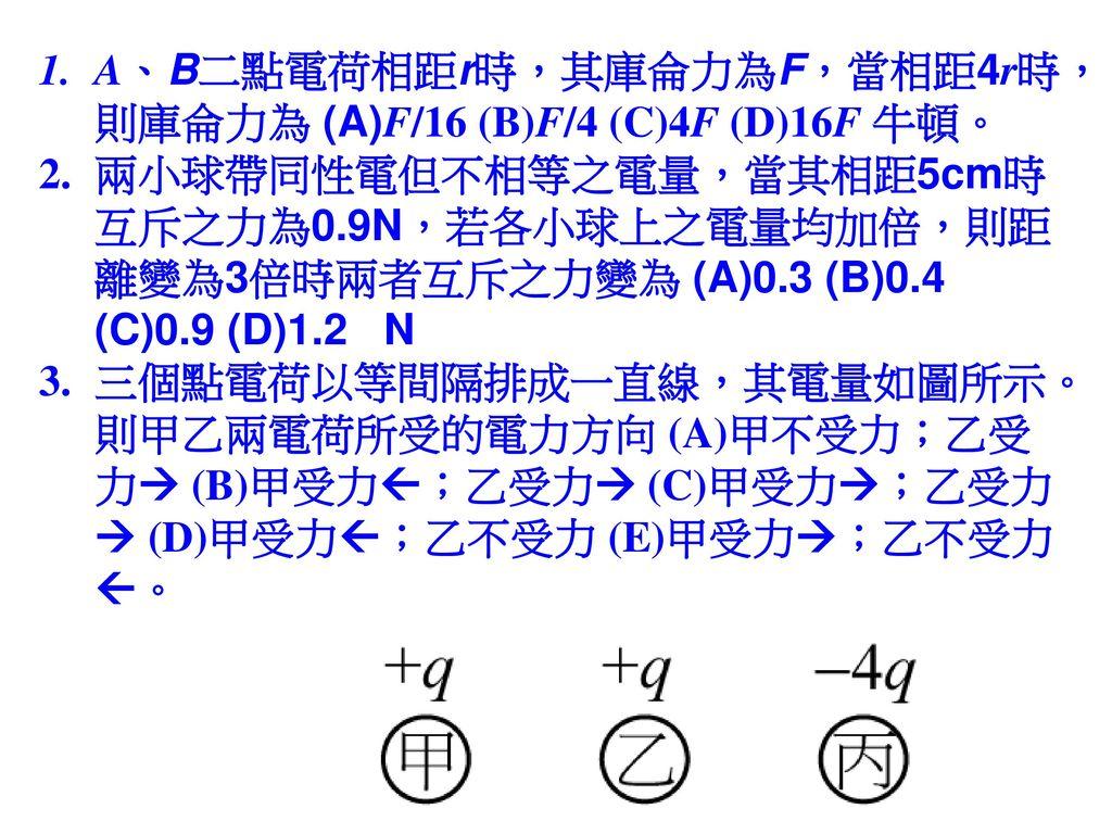 A、B二點電荷相距r時,其庫侖力為F,當相距4r時,則庫侖力為 (A)F/16 (B)F/4 (C)4F (D)16F 牛頓。