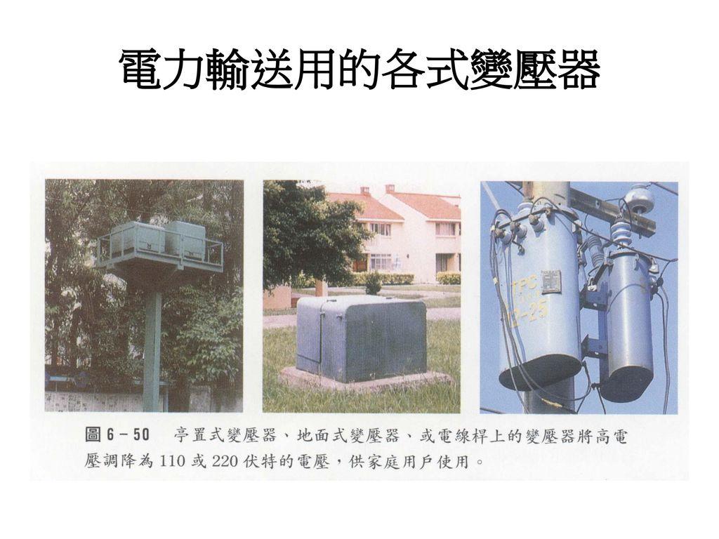 電力輸送用的各式變壓器