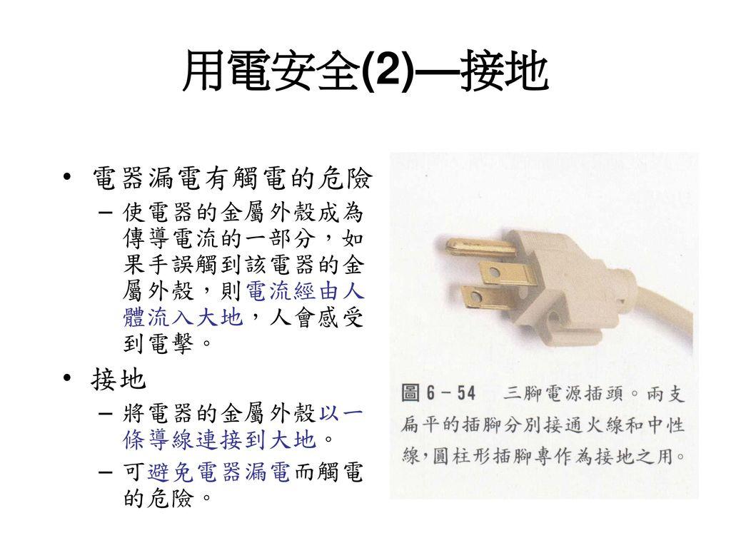 用電安全(2)—接地 電器漏電有觸電的危險 接地