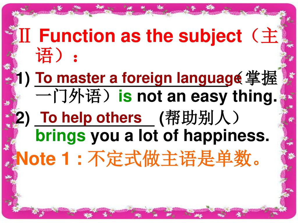 Ⅱ Function as the subject(主语):