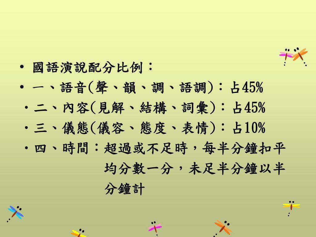 國語演說配分比例: 一、語音(聲、韻、調、語調):占45% 二、內容(見解、結構、詞彙):占45% 三、儀態(儀容、態度、表情):占10% 四、時間:超過或不足時,每半分鐘扣平. 均分數一分,未足半分鐘以半.