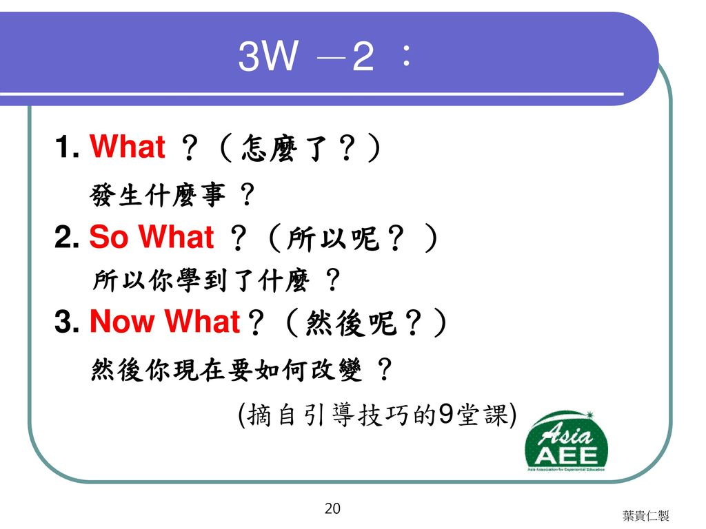 4F 1. Facts(事實) 2. Feelings(感覺) 3. Findings(發現) 4. Future(未來)