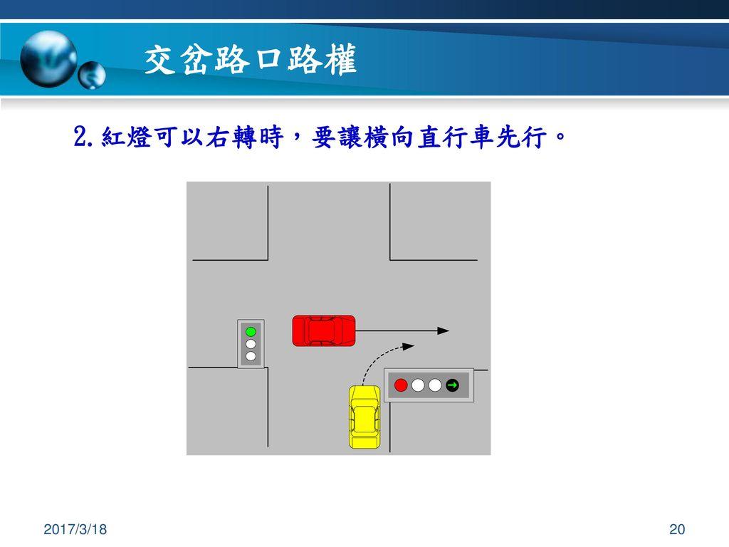 交岔路口路權 2.紅燈可以右轉時,要讓橫向直行車先行。 2017/3/18