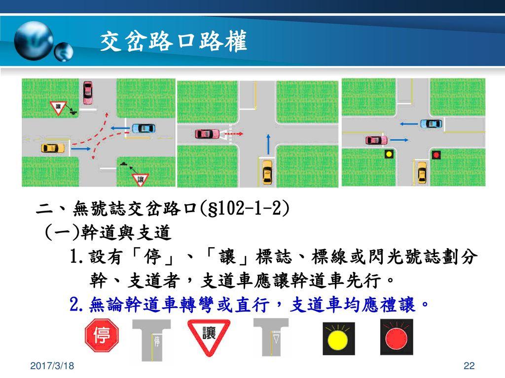 交岔路口路權 二、無號誌交岔路口(§102-1-2) (一)幹道與支道
