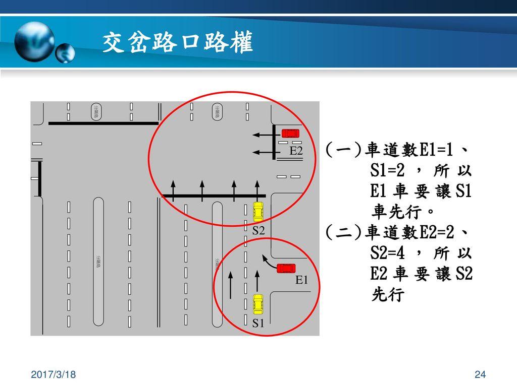 交岔路口路權 (一)車道數E1=1、S1=2,所以E1車要讓S1車先行。 (二)車道數E2=2、S2=4,所以E2車要讓S2先行