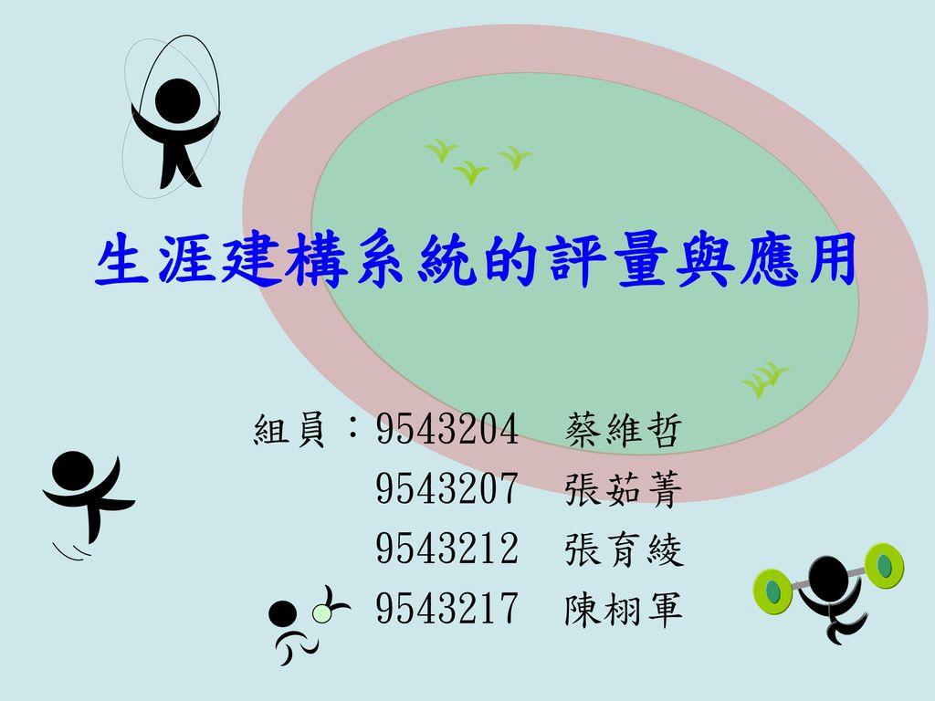 生涯建構系統的評量與應用 組員:9543204 蔡維哲 9543207 張茹菁 9543212 張育綾 9543217 陳栩軍