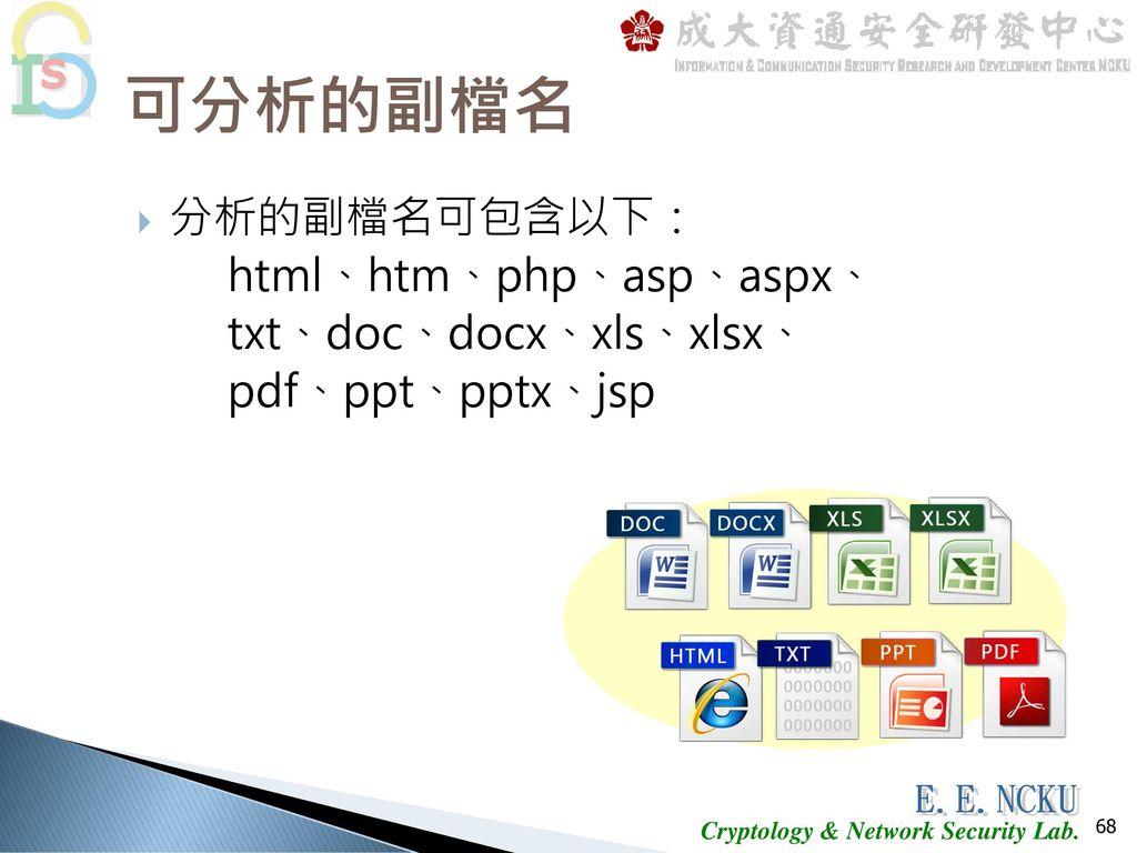 可分析的副檔名 分析的副檔名可包含以下: html、htm、php、asp、aspx、 txt、doc、docx、xls、xlsx、