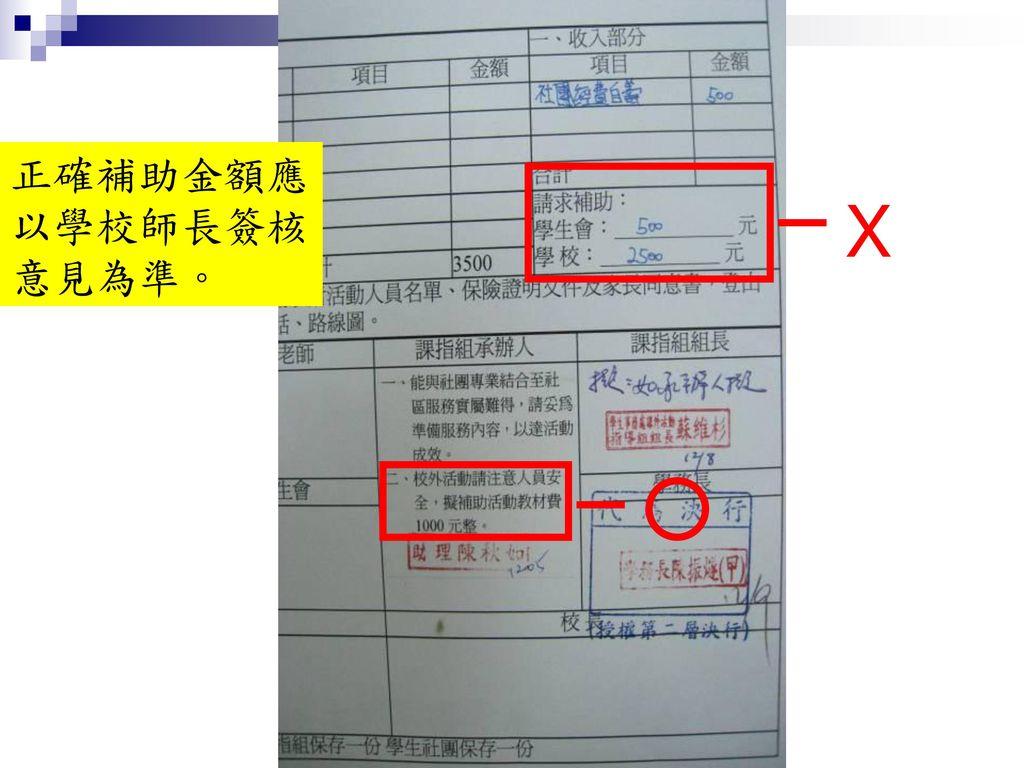 正確補助金額應以學校師長簽核意見為準。 X