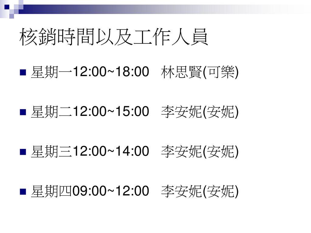 核銷時間以及工作人員 星期一12:00~18:00 林思賢(可樂) 星期二12:00~15:00 李安妮(安妮)