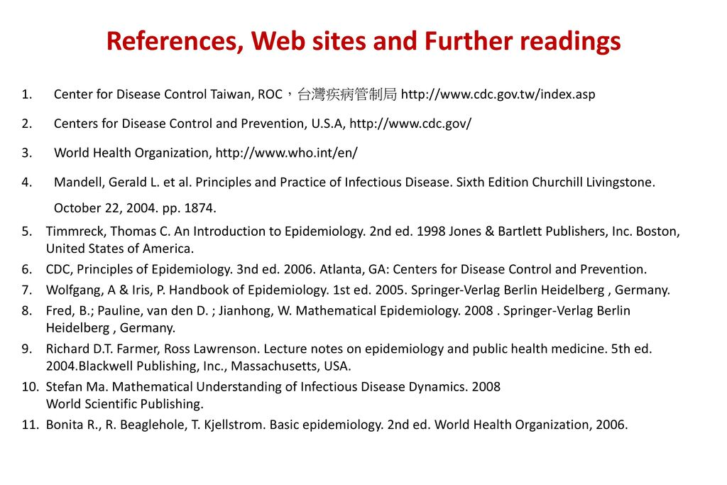 References, Web sites and Further readings