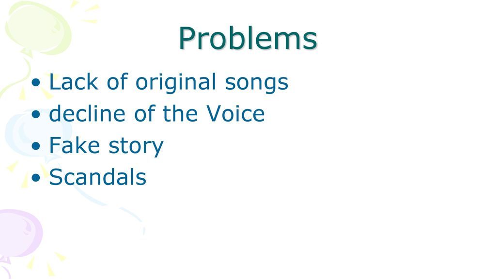 Problems Lack of original songs decline of the Voice Fake story
