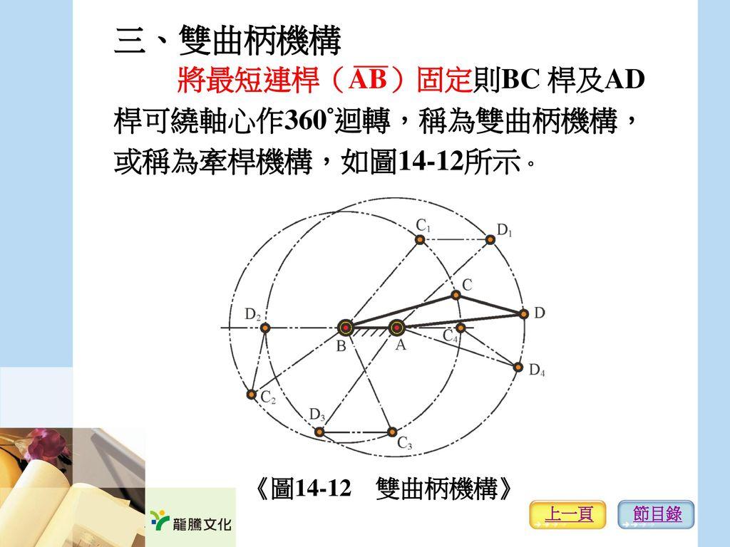 三、雙曲柄機構 將最短連桿(AB)固定則BC 桿及AD 桿可繞軸心作360°迴轉,稱為雙曲柄機構, 或稱為牽桿機構,如圖14-12所示。