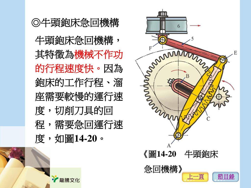 ◎牛頭鉋床急回機構 牛頭鉋床急回機構, 其特徵為機械不作功 的行程速度快。因為 鉋床的工作行程、溜 座需要較慢的運行速 度,切削刀具的回