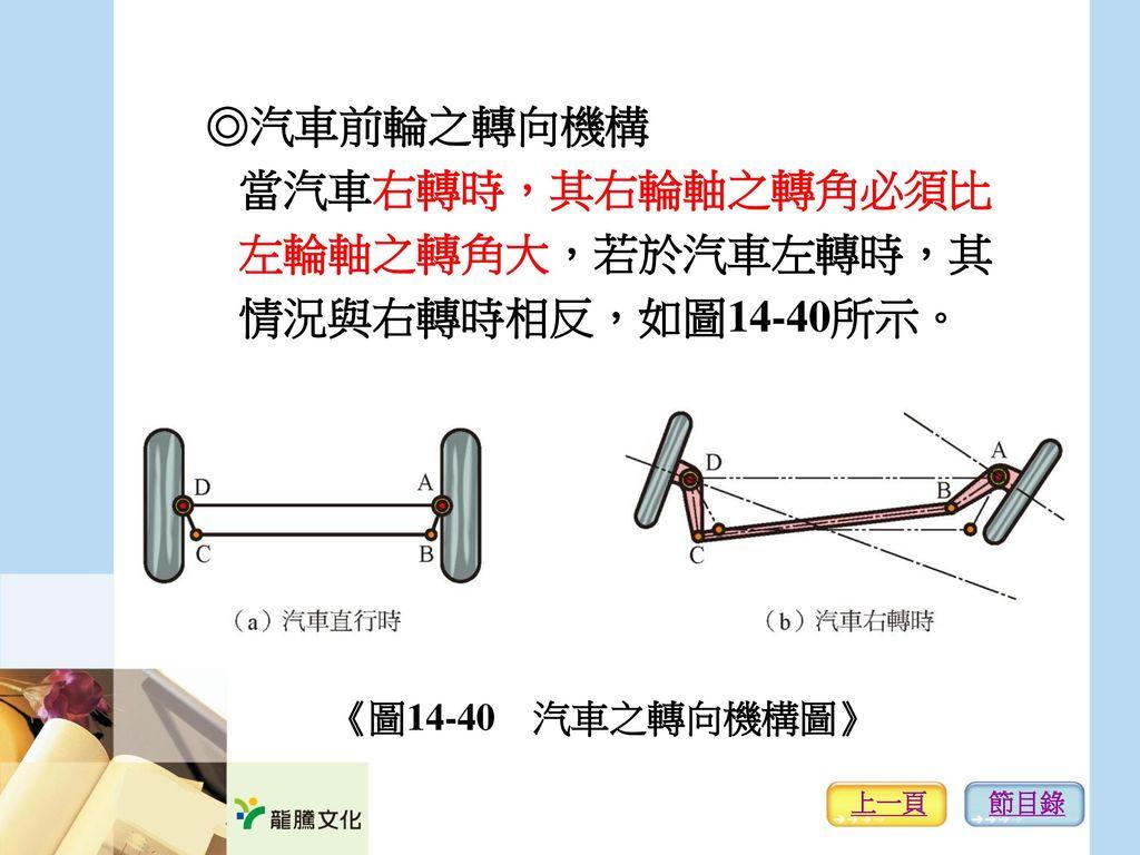 ◎汽車前輪之轉向機構 當汽車右轉時,其右輪軸之轉角必須比 左輪軸之轉角大,若於汽車左轉時,其 情況與右轉時相反,如圖14-40所示。