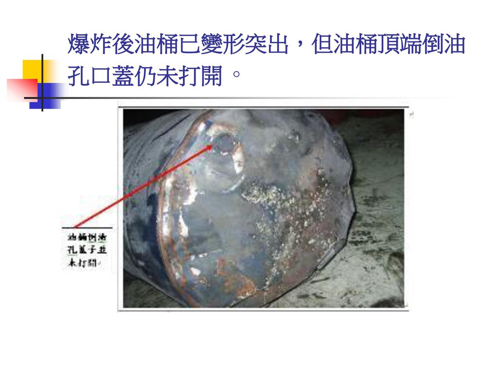 爆炸後油桶已變形突出,但油桶頂端倒油孔口蓋仍未打開。