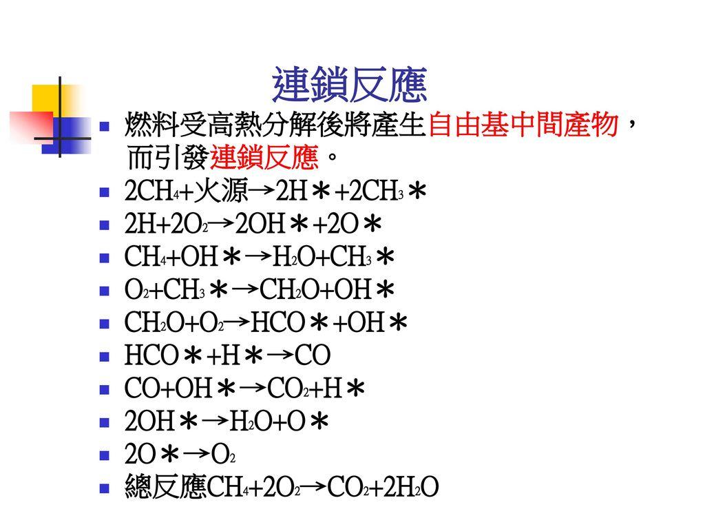 連鎖反應 燃料受高熱分解後將產生自由基中間產物, 而引發連鎖反應。 2CH4+火源→2H*+2CH3* 2H+2O2→2OH*+2O*