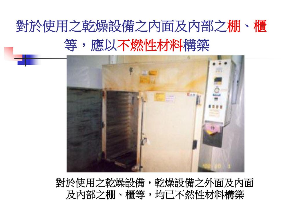 對於使用之乾燥設備之內面及內部之棚、櫃 等,應以不燃性材料構築