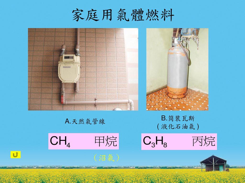 家庭用氣體燃料 A.天然氣管線 B.筒裝瓦斯 ( 液化石油氣 ) (沼氣)