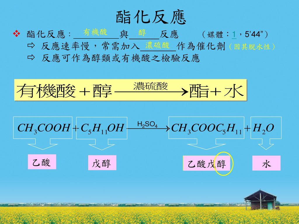 酯化反應  酯化反應: 與 反應 (媒體:1,5'44 )  反應速率慢,常需加入 作為催化劑(因其脫水性)  反應可作為醇類或有機酸之檢驗反應.