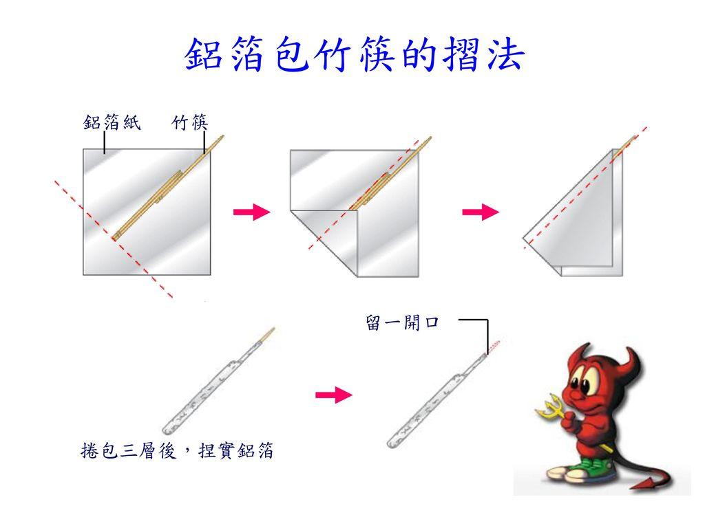 鋁箔包竹筷的摺法 鋁箔紙 竹筷 捲包三層後,捏實鋁箔 留一開口