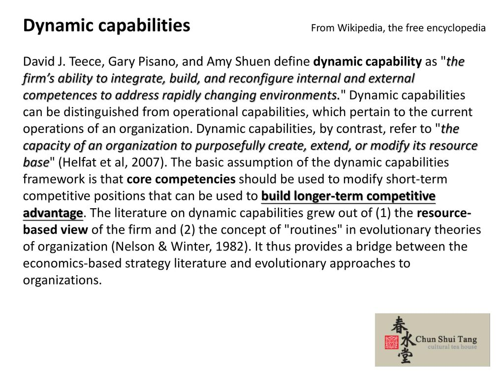 Dynamic capabilities From Wikipedia, the free encyclopedia