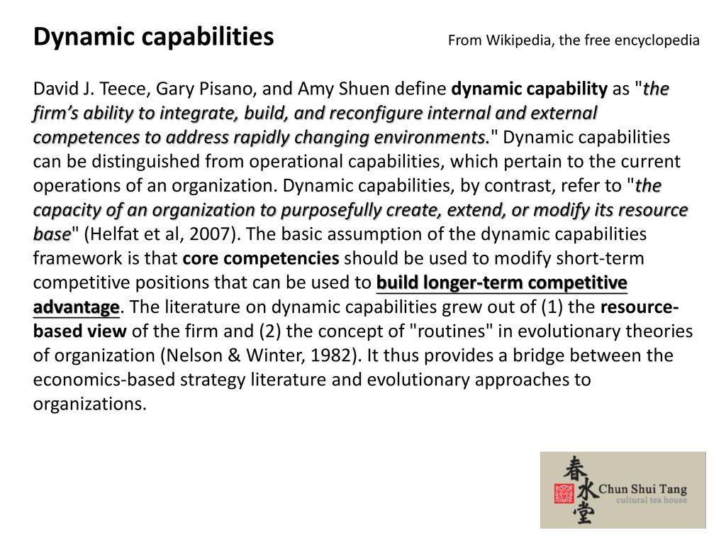 Dynamic capabilities From Wikipedia, the free encyclopedia
