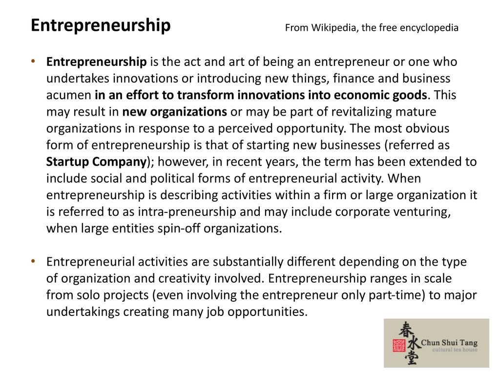 Entrepreneurship From Wikipedia, the free encyclopedia