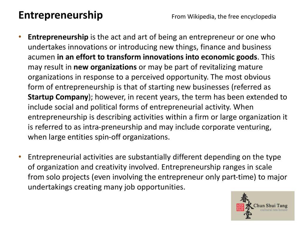 Entrepreneurship From Wikipedia, the free encyclopedia