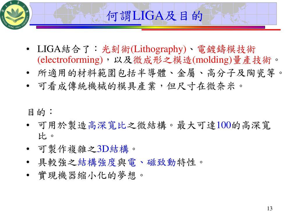 何謂LIGA及目的 LIGA結合了:光刻術(Lithography)、電鍍鑄模技術(electroforming),以及微成形之模造(molding)量產技術。 所適用的材料範圍包括半導體、金屬、高分子及陶瓷等。