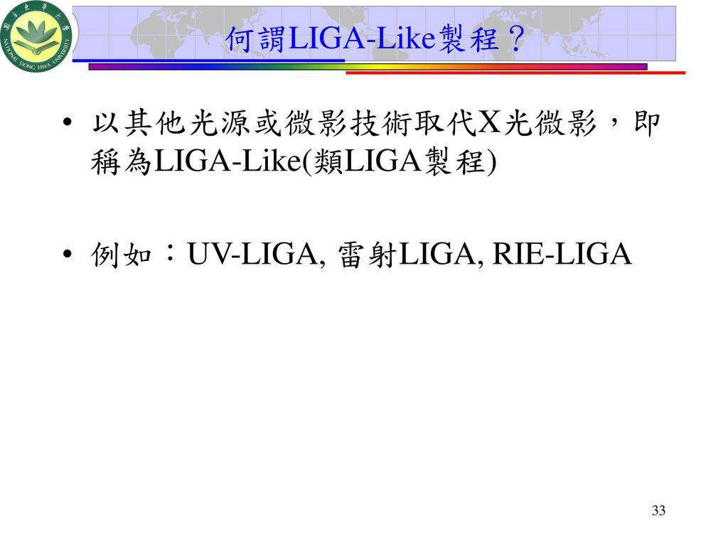 何謂LIGA-Like製程? 以其他光源或微影技術取代X光微影,即稱為LIGA-Like(類LIGA製程) 例如:UV-LIGA, 雷射LIGA, RIE-LIGA