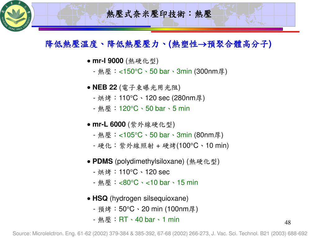 降低熱壓溫度、降低熱壓壓力、(熱塑性預聚合體高分子)