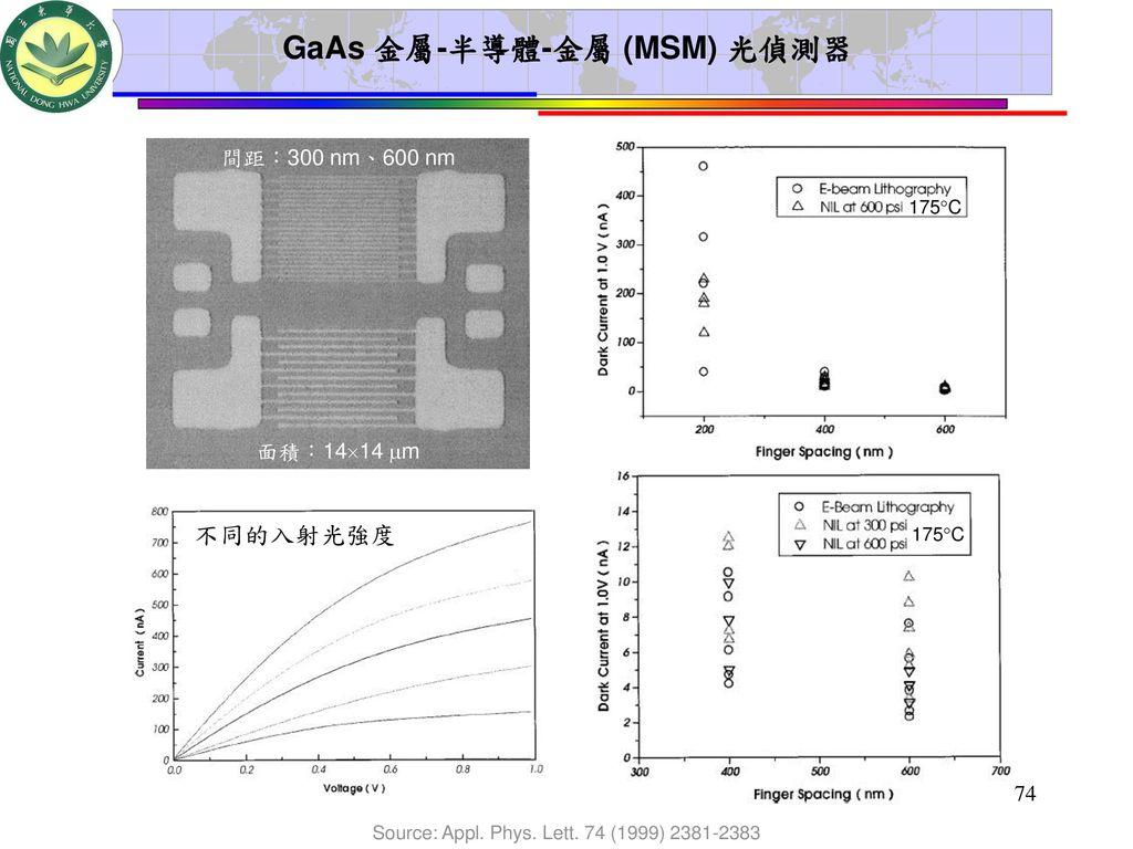 GaAs 金屬-半導體-金屬 (MSM) 光偵測器