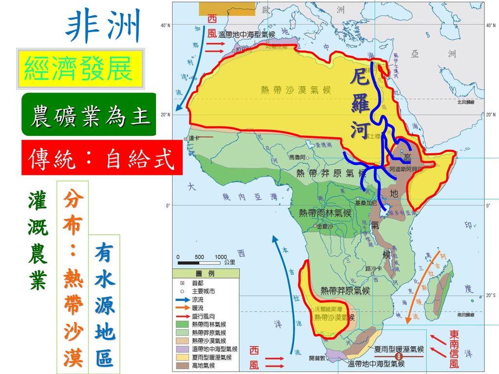 非洲 經濟發展 尼羅河 農礦業為主 傳統:自給式 灌溉農業 分布:熱帶沙漠 有水源地區