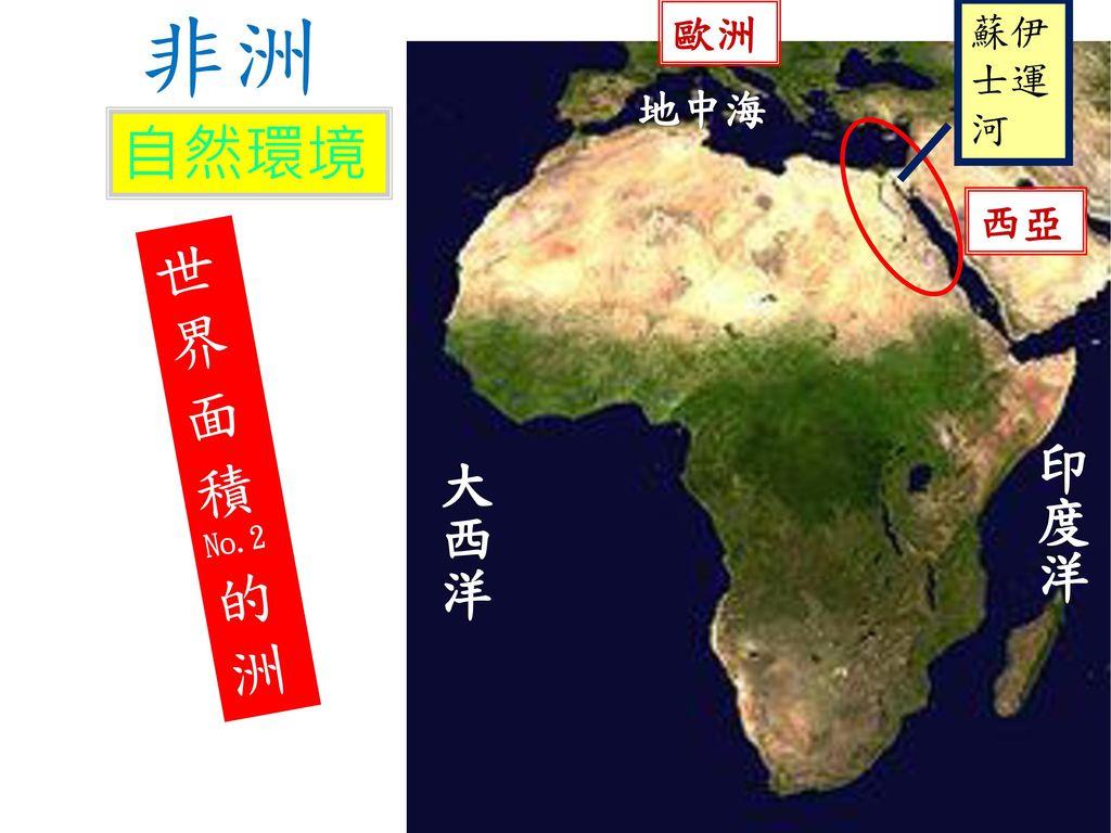 非洲 歐洲 蘇伊士運河 地中海 自然環境 西亞 世界面積No.2的洲 印度洋 大西洋