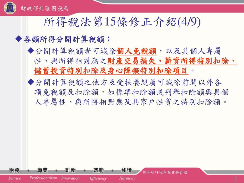 所得稅法第15條修正介紹(4/9) 各類所得分開計算稅額: