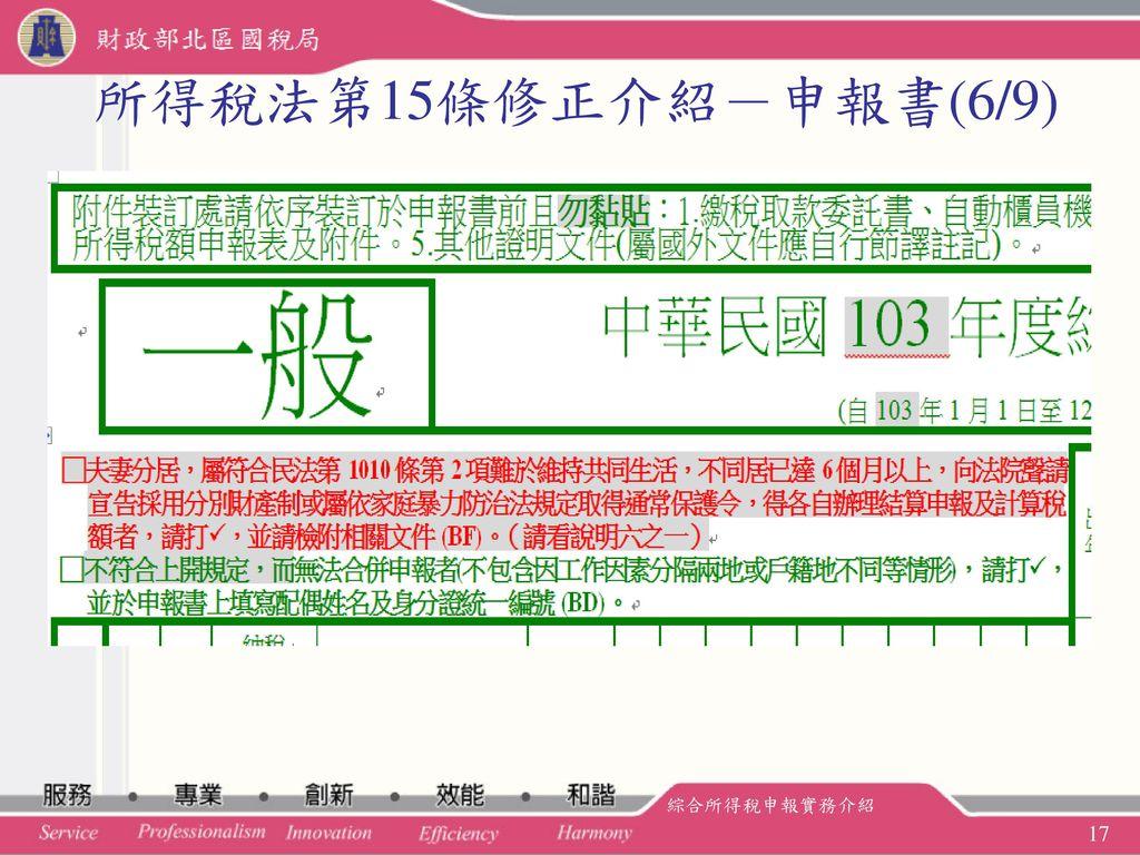 所得稅法第15條修正介紹-申報書(6/9) 綜合所得稅申報實務介紹