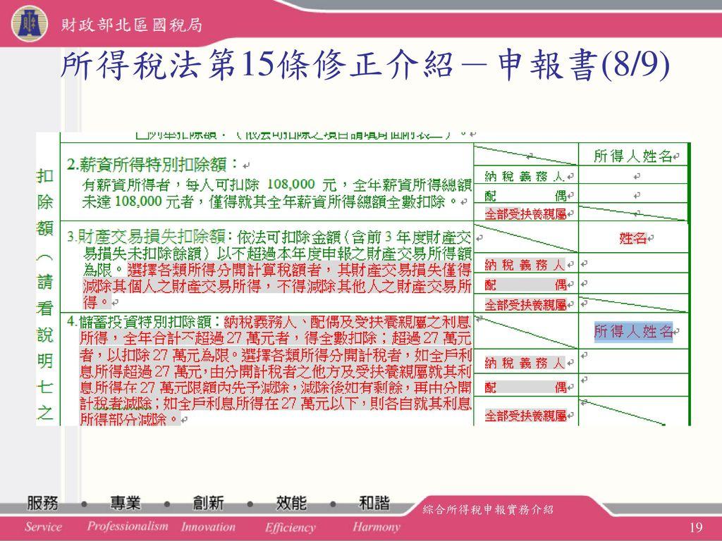 所得稅法第15條修正介紹-申報書(8/9) 綜合所得稅申報實務介紹