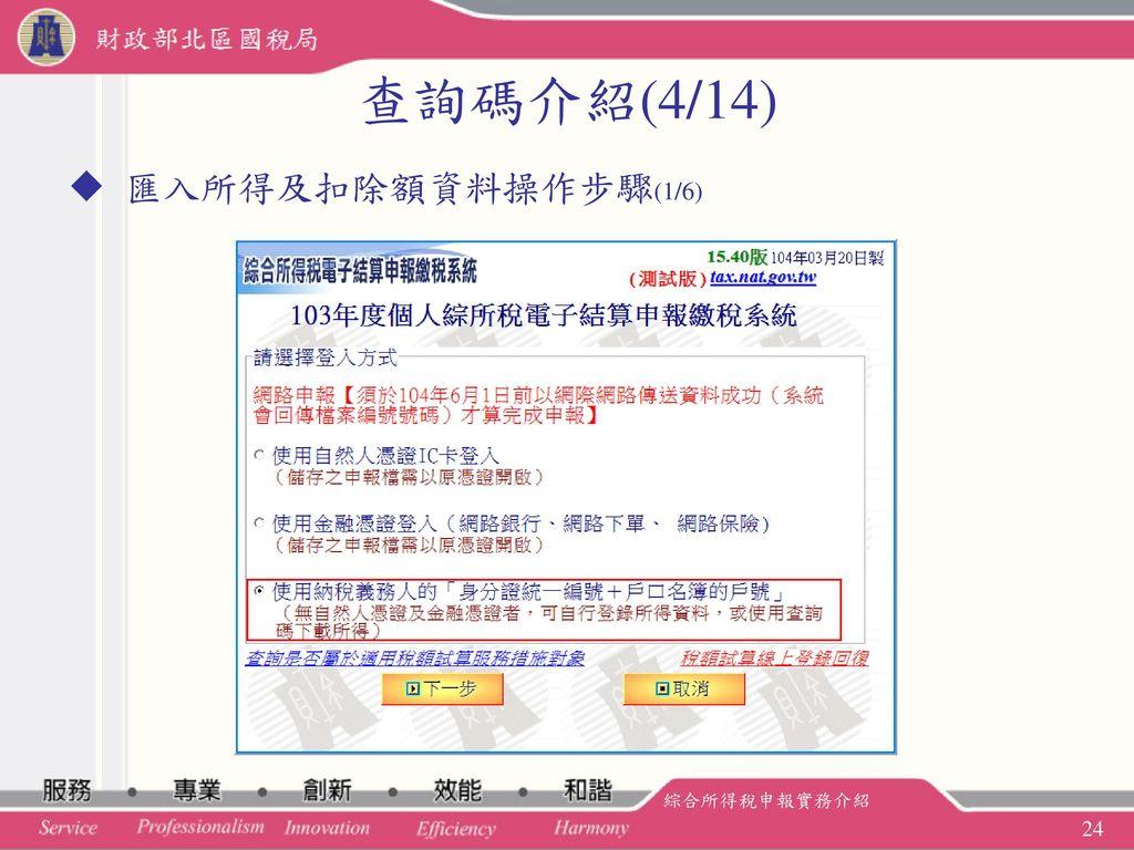 查詢碼介紹(4/14) 匯入所得及扣除額資料操作步驟(1/6) 綜合所得稅申報實務介紹