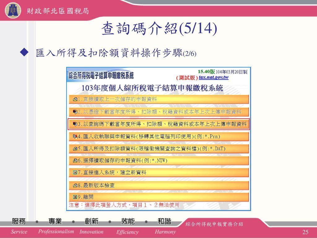 查詢碼介紹(5/14) 匯入所得及扣除額資料操作步驟(2/6) 綜合所得稅申報實務介紹