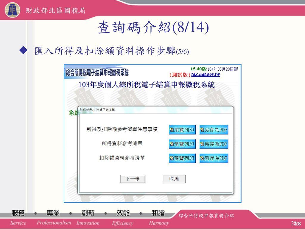 查詢碼介紹(8/14) 匯入所得及扣除額資料操作步驟(5/6) 綜合所得稅申報實務介紹 28