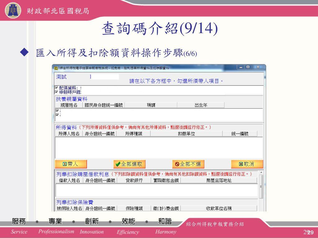 查詢碼介紹(9/14) 匯入所得及扣除額資料操作步驟(6/6) 綜合所得稅申報實務介紹 29