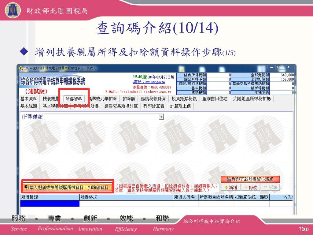 查詢碼介紹(10/14) 增列扶養親屬所得及扣除額資料操作步驟(1/5) 綜合所得稅申報實務介紹 30