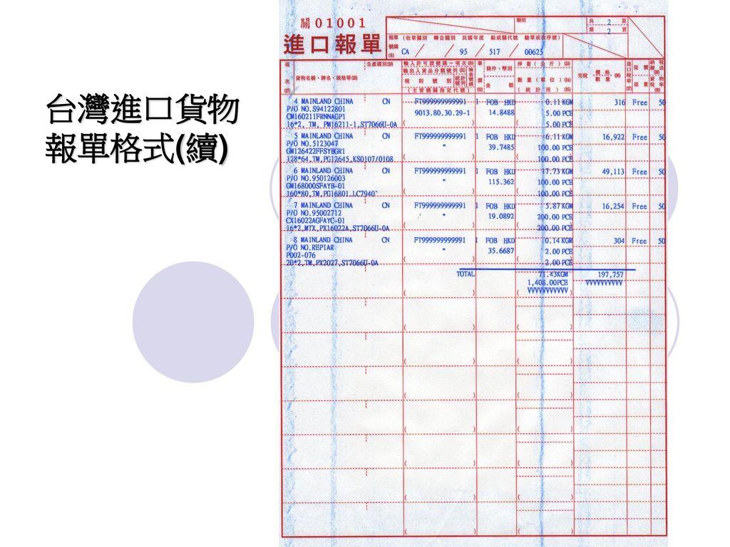 台灣進口貨物報單格式(續)