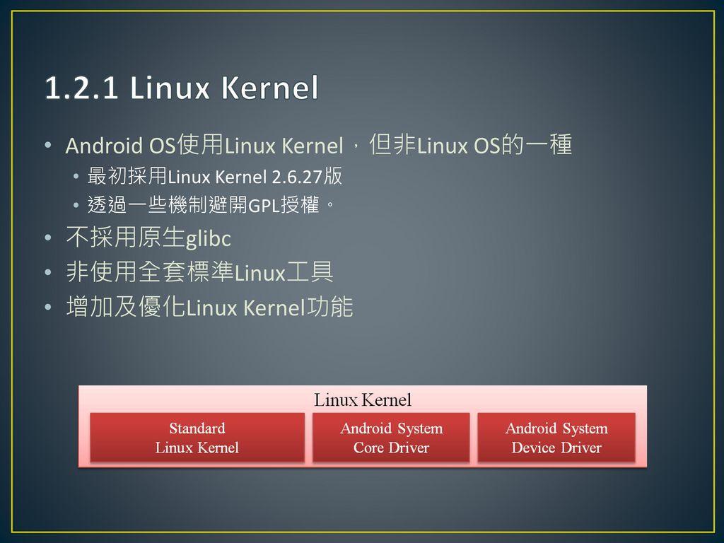1.2.1 Linux Kernel Android OS使用Linux Kernel,但非Linux OS的一種 不採用原生glibc