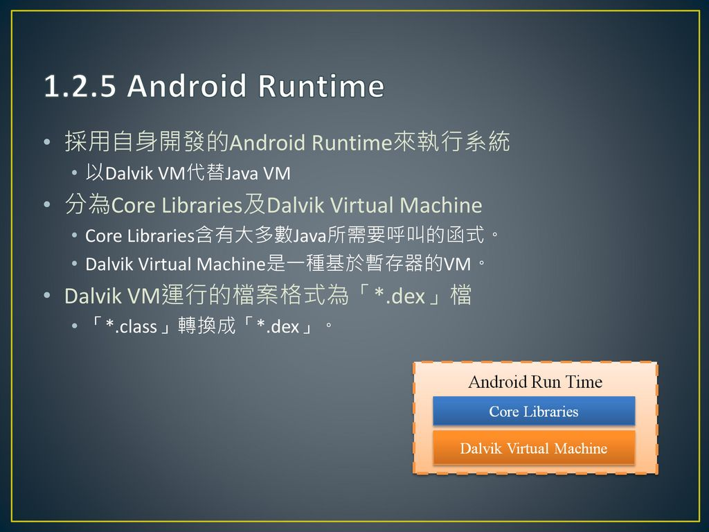 1.2.5 Android Runtime 採用自身開發的Android Runtime來執行系統